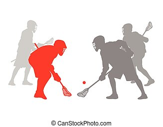 lacrosse, concepto, ganador, jugador, vector, plano de...