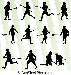 lacrosse, conjunto, jugador, vector, plano de fondo, acción