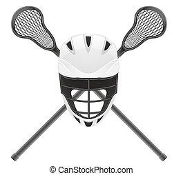 lacrosse, equipamento, vetorial, ilustração