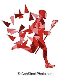lacrosse, fait, polygone, résumé, illustration, joueur, vecteur, fond, fragments