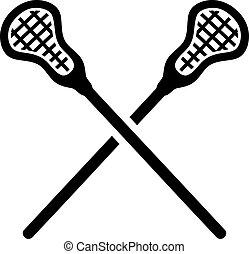 lacrosse, gekreuzt, stöcke