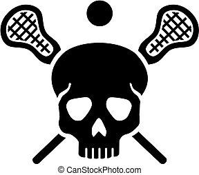 lacrosse, gekreuzt, stöcke, totenschädel