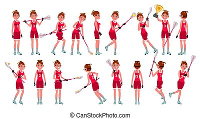 Lacrosse Girl Vector. Catch The Ball. Running. Teammates In...