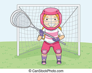 Lacrosse Goalie - Illustration of a Girl in Lacrosse Gear...