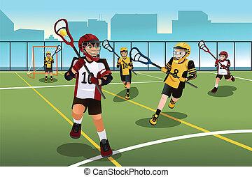 lacrosse, gosses, jouer