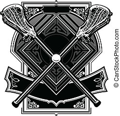 lacrosse, gra, bola, varas, ornate