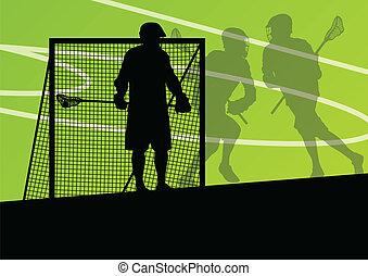 lacrosse, ilustração, esportes, jogadores, silhuetas, fundo,...