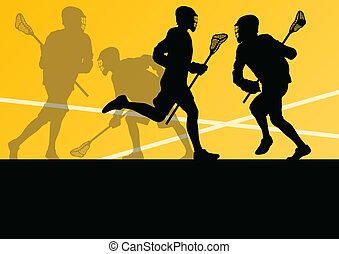 lacrosse, ilustrace, sportovní, hráč, silhouettes, grafické...