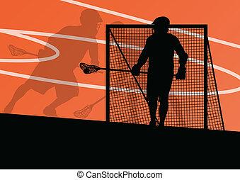 lacrosse, ilustración, deportes, jugadores, siluetas, plano...