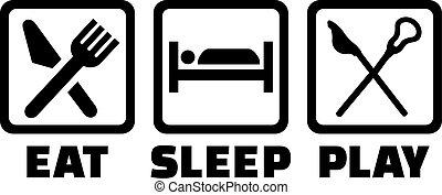 lacrosse, játék, alszik, eszik