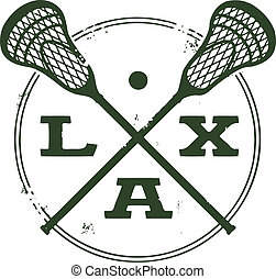 Vintage style logo featuring crossed lacrosse sticks and ball.