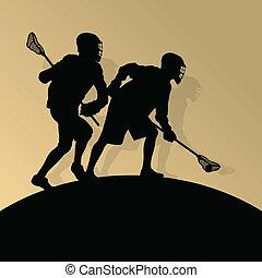 lacrosse, manifesto, uomini, illustrazione, sport, lettori, silhouette, vettore, fondo, attivo