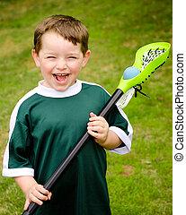 lacrosse, park, spelend, kind