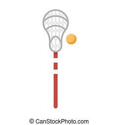 lacrosse, plat, style, game., illustration, équipement, vecteur