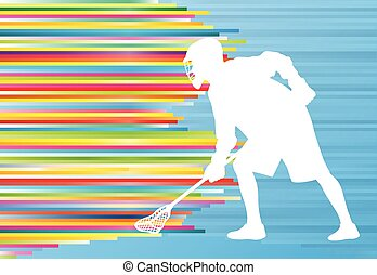 Lacrosse player action vector background