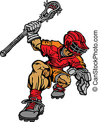 Graphic Vector Cartoon Image of a Lacrosse Player Holding Lacrosse Stick