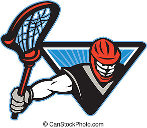Lacrosse Player Crosse Stick - Illustration of a lacrosse...