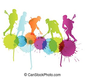 Lacrosse player in action vector background concept with color splashes