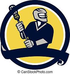 Lacrosse Player Ribbon Circle Retro - Illustration of a...