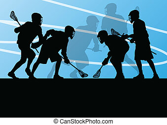 Lacrosse players active sports silhouettes background ...