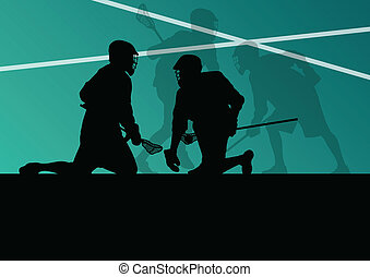 Lacrosse players active sports silhouettes background illustration