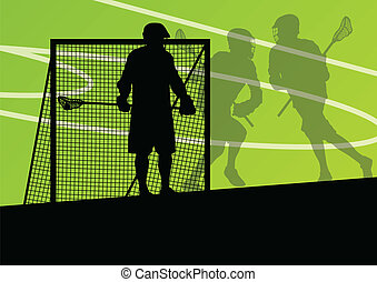 Lacrosse players active sports silhouettes background...