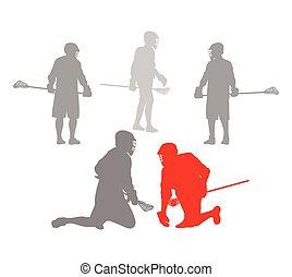 lacrosse, pojęcie, zwycięzca, gracz, wektor, tło, czyn