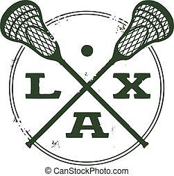 lacrosse, postzegel, sportende, laks