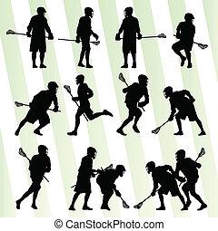 lacrosse, satz, spieler, vektor, hintergrund, aktiv