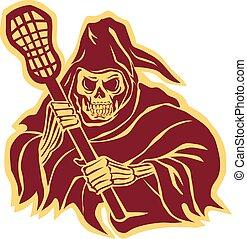 lacrosse, segadora, poste, defensa, retro, severo