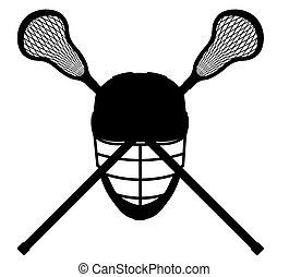 lacrosse, silueta, esboço, ilustração, equipamento, vetorial, pretas