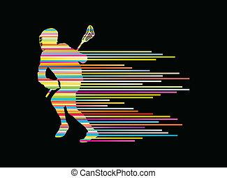 lacrosse spelare, i aktion, vektor, bakgrund, begrepp,...