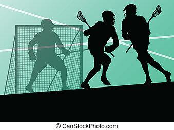 lacrosse spieler, aktive, sport, silhouetten, hintergrund,...