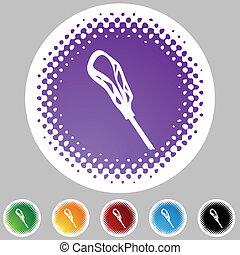 Lacrosse Stick - Lacrosse stick icon button isolated on a ...