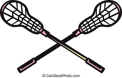 Lacrosse Stick Woodcut - Illustration of a crossed lacrosse...