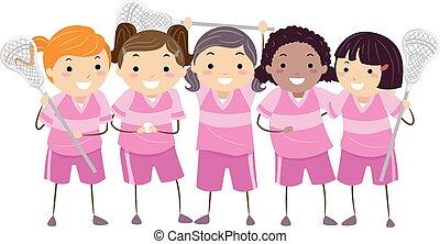 lacrosse, stickman, meninas, equipe