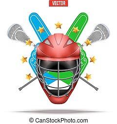 Lacrosse sticks and helmet Label - Label of Lacrosse symbol....