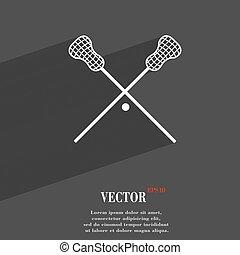 Lacrosse Sticks crossed symbol Flat modern web design with...