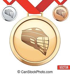 lacrosse, symbole, médaille, intérieur, or