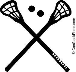 lacrosse, traversé, bâtons
