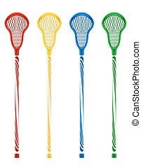 lacrosse, vektor, stöcke, abbildung