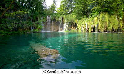 lacs, chute eau, plitvice, croatia.