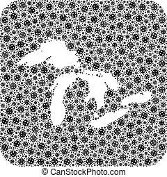 lacs, -, mosaïque, covid-2019, carte, grand, virus, trou