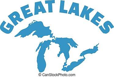 lacs, silhouette, nom, grand