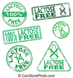 Lactose free food. Rubber stamp vector illustrations