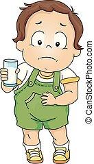 lactose, garçon, intolerant, enfantqui commence à marcher, illustration