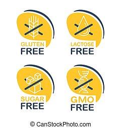 Lactose, Gluten, GMO, Sugar free pictograms