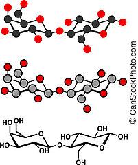 Lactose milk sugar molecule. Stylized 2D renderings and conventional skeletal formula.