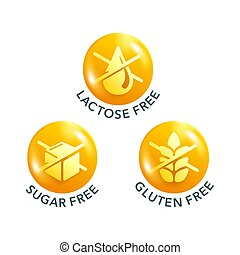 Lactose, Sugar, Gluten free 3D glossy pictogram