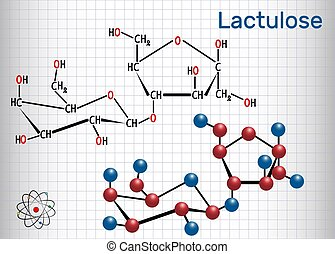 Lactulose molecule. It is used in the treatment of constipation. Structural chemical formula and molecule model. Sheet of paper in a cage